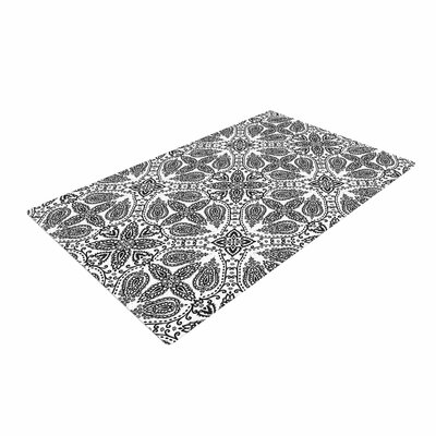 Nandita Singh Boho in Black and White Pattern Gray Area Rug