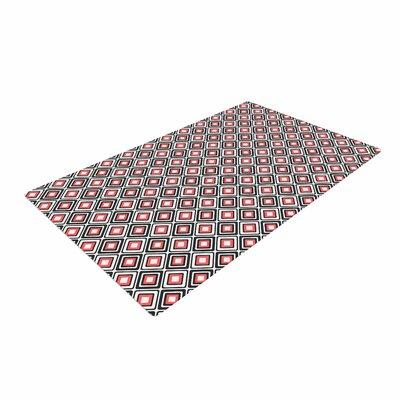 Nandita Singh Bright Squares Pattern Coral/Black Area Rug
