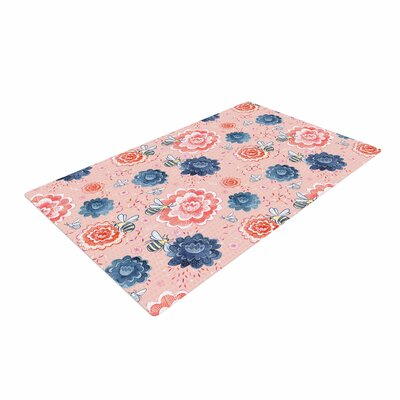 Nic Squirrell Bees Please Floral Pink Area Rug