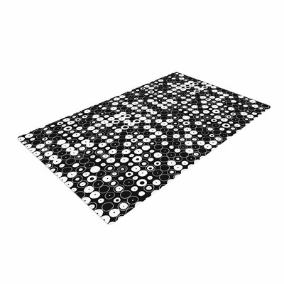 Nandita Singh White & Funny Polka Dots Abstract Black Area Rug