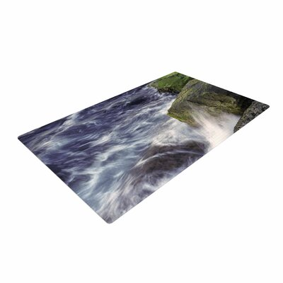Nick Nareshni Wave Against La Jolla Rocks Ocean Blue Area Rug