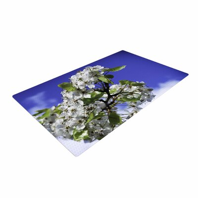 Nick Nareshni Cherry Blossoms and Sky Aqua/White Area Rug