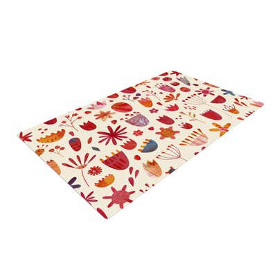 Nic Squirrell Spring Flowers Pink/Red Area Rug