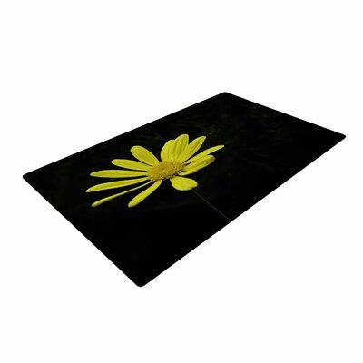Nick Nareshni Yellow Petal Daisy Floral Photography Black/Yellow Area Rug