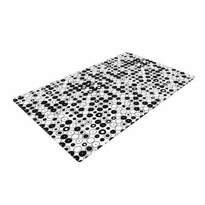 Nandita Singh Funny Polka Dots Abstract White/Black Area Rug