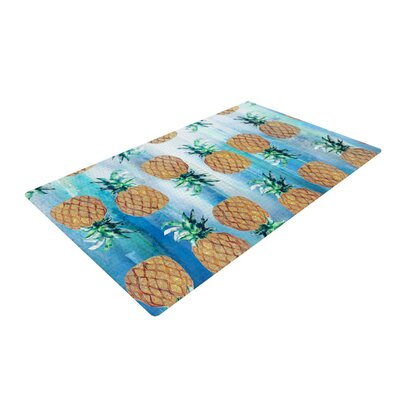 Nikki Strange Pineapple Beach Blue/Brown Area Rug