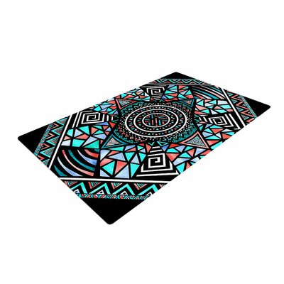 Pom Graphic Design Geo Glass Teal/Black Area Rug