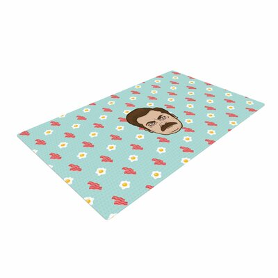 Juan Paolo Give Me All of the Bacon and Eggs Parks & Recreation Blue Area Rug