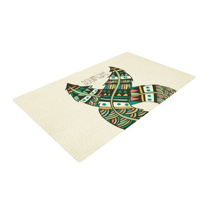 Pom Graphic Design Soulmate Feathers Tan/Green Area Rug Rug Size: Rectangle 2 x 3