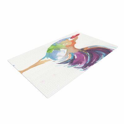 Rebecca Bender Watercolor Rooster Bird Multicolor Area Rug