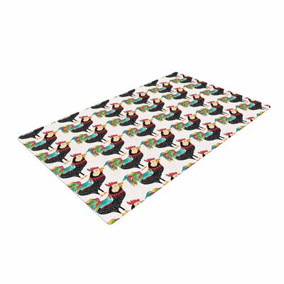 Pom Graphic Design The Rooster Squad Pattern Black Area Rug