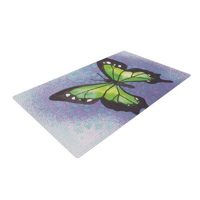 Padgett Mason Lime Green Flutter Purple/Lavender Area Rug