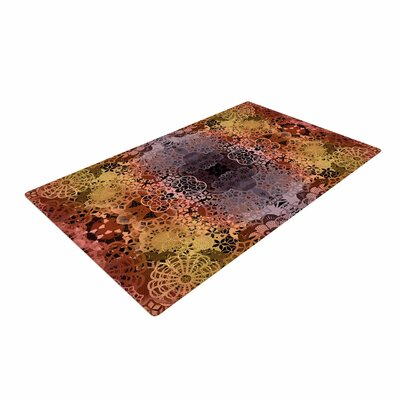 Pia Schneider Floral Fall Pattern Maroon Area Rug