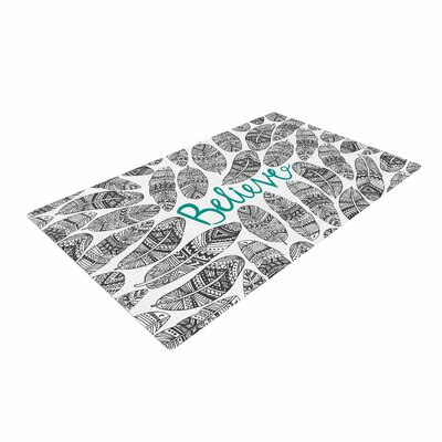 Pom Graphic Design Believe Gray/Teal Area Rug