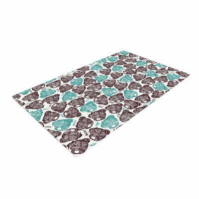 Pom Graphic Design The Barking Pug Teal/Black Area Rug