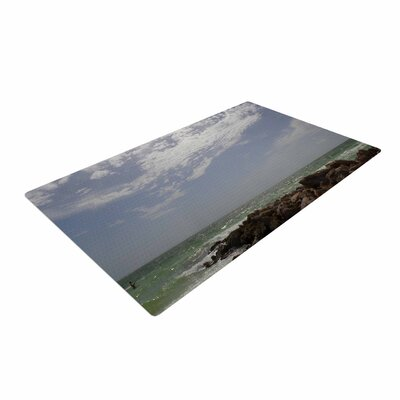 Rosie Brown Clouds Coastal Photography Blue/Green Area Rug