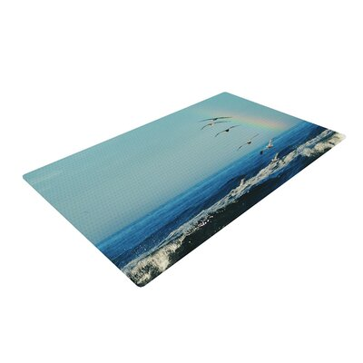 Robin Dickinson Ill Follow Coastal Blue Area Rug Rug Size: 4 x 6