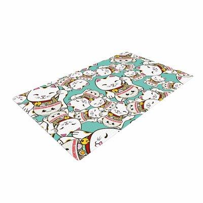 Juan Paolo Ramen Cats Teal/White Area Rug