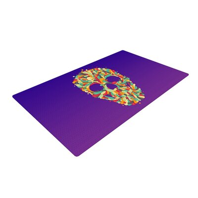 Roberlan Jelly Skull Purple Area Rug Rug Size: 2' x 3'