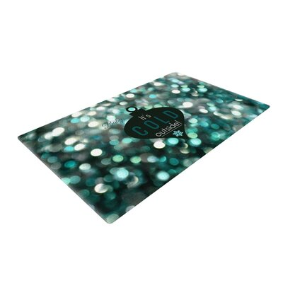 Robin Dickinson Its Cold Outside Teal Area Rug