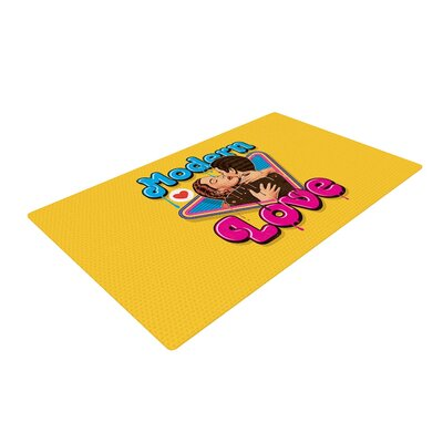 Roberlan Modern Retro Love Neon Yellow Area Rug Rug Size: 4 x 6
