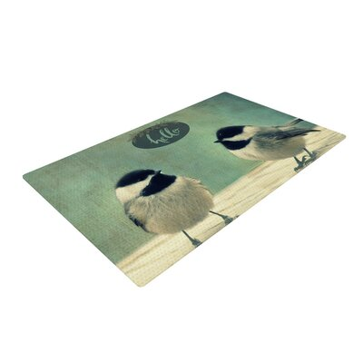 Robin Dickinson Hello Birds Typography Green Area Rug Rug Size: 4 x 6
