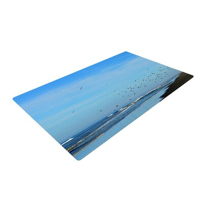 Robin Dickinson Beach Hair Coastal Blue Area Rug Rug Size: 2' x 3'
