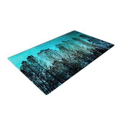 Sylvia Cook Dark Forest Trees Blue Area Rug Rug Size: 2 x 3