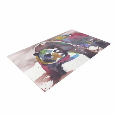 Rebecca Bender Grizzly Bear Watercolor Abstract Animal White/Brown Area Rug Rug Size: 4 x 6