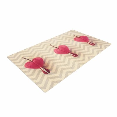 Robin Dickinson Heart with Chevrons Floral Pink Area Rug