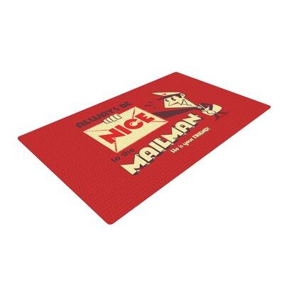Roberlan Be Nice To the Mailman Red/Tan Area Rug