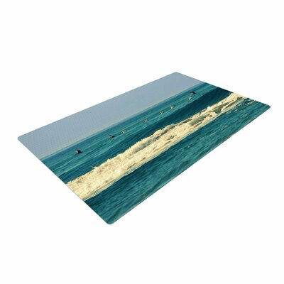 Robin Dickinson Break Free and Soar Ocean Wave Teal Area Rug Rug Size: 2 x 3