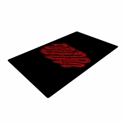 BarmalisiRTB Fire Snake Animals Black Area Rug Rug Size: 2' x 3'