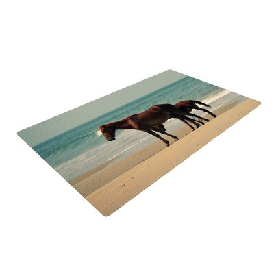 Robin Dickinson Sandy Toes Beach Horses Brown/Blue Area Rug Rug Size: 4 x 6