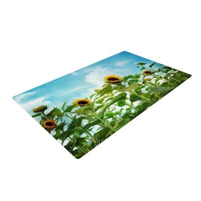 Sylvia Cook Sunflower Field Blue/Green Area Rug