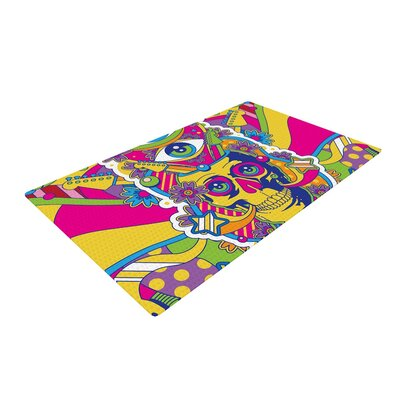 Roberlan Skull Illustration Rainbow Area Rug Rug Size: 2' x 3'