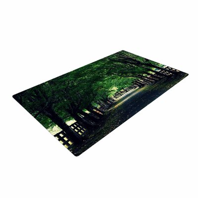 Robin Dickinson Welcome Home Trees Green Area Rug