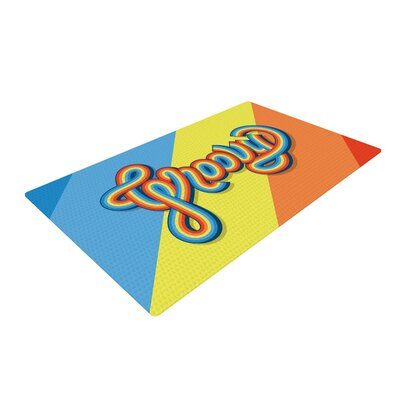 Roberlan Groovy Typography Blue/Orange Area Rug Rug Size: 2 x 3