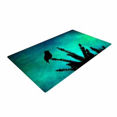 Sylvia Coomes Bird Silhouette Teal/Black Area Rug