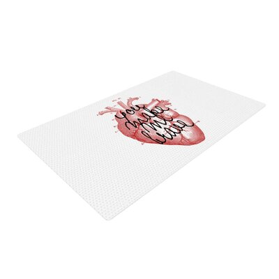 Suzanne Carter Make Me Brave White/Red Area Rug