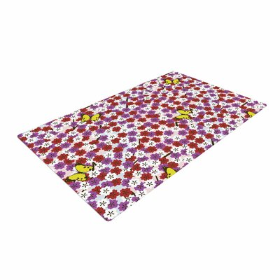 Setsu Egawa Cherry Blossom and Butterfly Red/Pink Area Rug