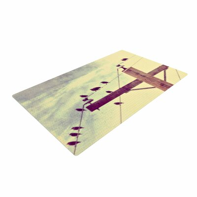 Sylvia Coomes Vintage Birds on a Wire 2 Digital Yellow Area Rug