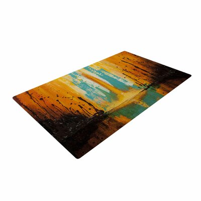 Steven Dix Inception Or Birth Teal/Orange Area Rug
