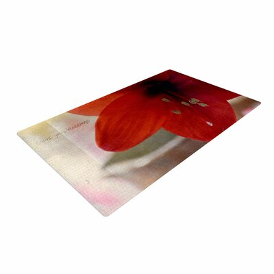 Robin Dickinson Count Your Blessings Floral Red Area Rug