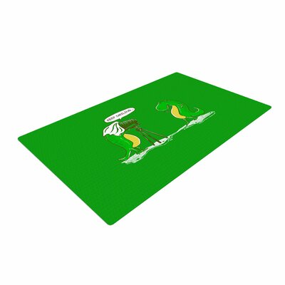 BarmalisiRTB Keep Smiling Illustration Green Area Rug Rug Size: 2 x 3