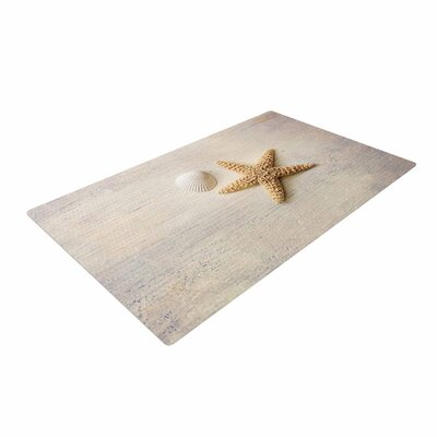 Sylvia Cook Starfish and Shell Beige/Yellow Area Rug Rug Size: 2 x 3