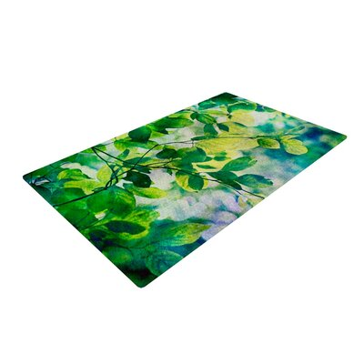Sylvia Cook Leaves Teal/Green Area Rug