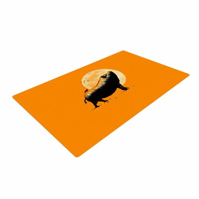 BarmalisiRTB Barking Pig Black/Orange Area Rug Rug Size: 4 x 6