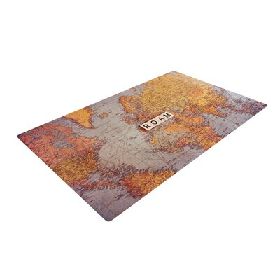 Sylvia Cook Roam Map World Brown/Yellow Area Rug