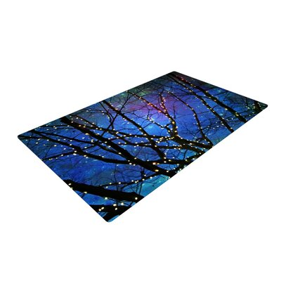 Sylvia Cook Holiday Lights Christmas Blue/Black Area Rug
